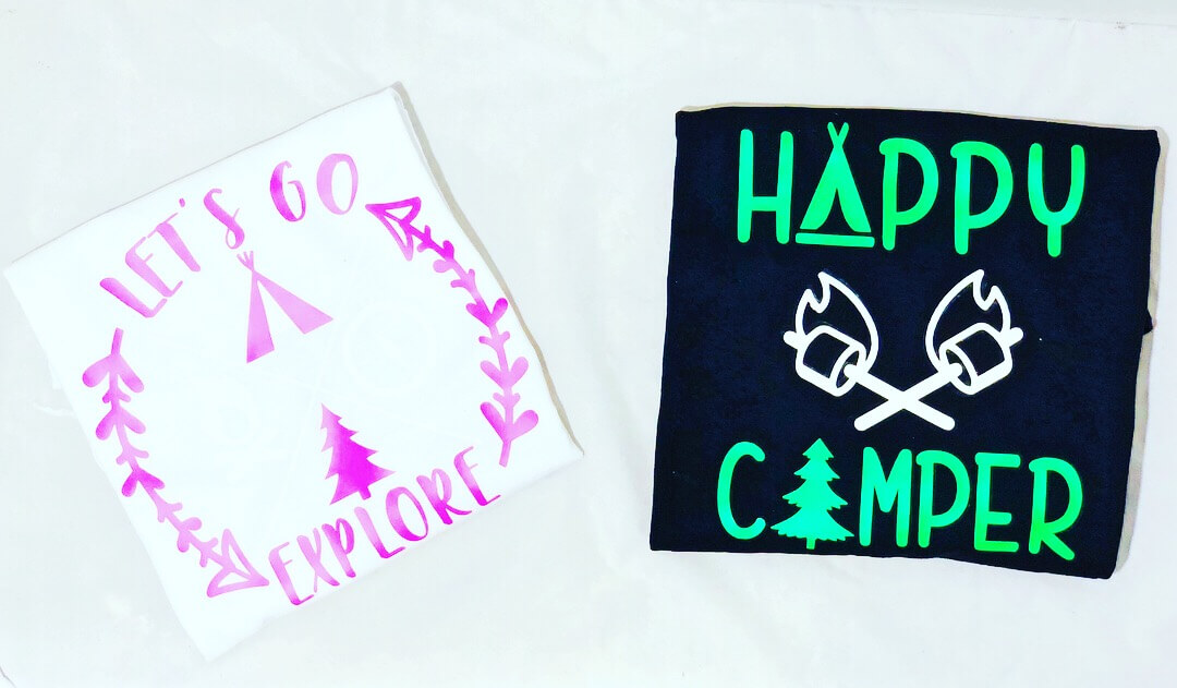 finished camping shirts craftables glow in the dark